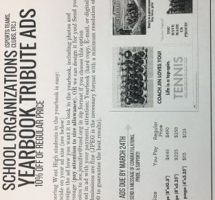 Yearbook Ads Due 3/1