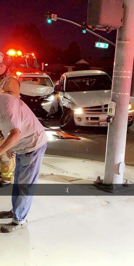 The aftermath of the car crash. Photo Courtesy of John Blais.