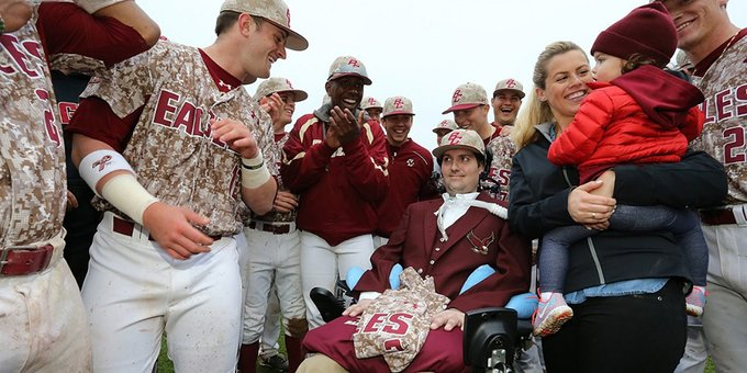 Pete Frates, after diagnosis, with his ex-teammates. Courtesy of Boston College.