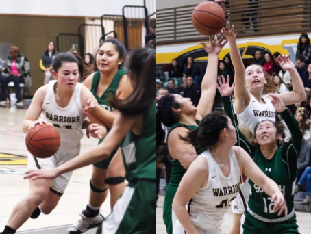 West High's Girls' Basketball varsity team climbed to the top of the league to qualify for CIF. Photo courtesy of Lulu Acuesta (11) and Zoe Jackson Delos Angeles (11).