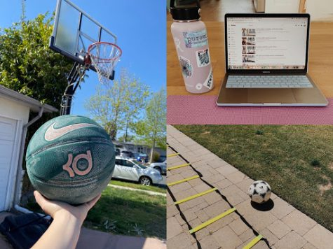 Various activities the athletes have been doing to stay healthy. Photos courtesy of Piper Takenaka and Sammy Gonzales.