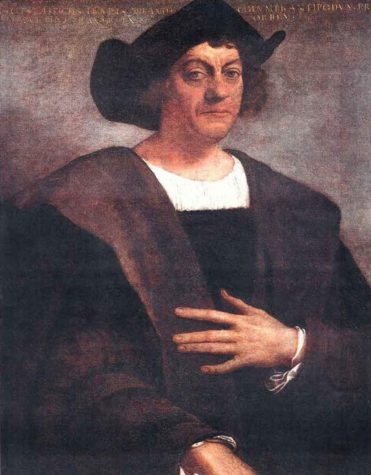 An image of Christopher Columbus. His portrait, although serene, perpetuates a facade of undeserved regality and honor.