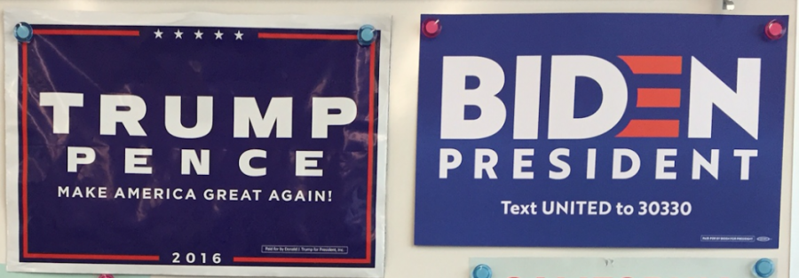 These campaign posters hanging in Mr. Hettinger's classroom highlight the importance of voters supporting the candidate they believe will help the country most.  Watching the presidential debates is one way voters decide how to vote. Courtesy of Mr. Hettinger.