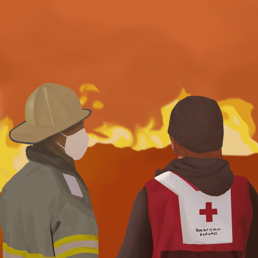 As the California wildfires rage on, organizations including the American Red Cross work hand in hand with local fire departments to provide shelter, meals, and delivery services for those in need.