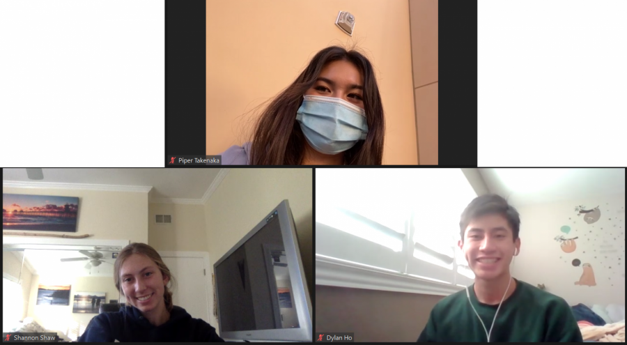 "Takenaka (12), Shaw (12), and Ho (12) gather through Zoom to explain their aspirations for the year and the journeys they've taken in ASB. ""My journey in ASB is to just grow as a person and learn whatever I can from everyone else around me...and just helping our school be as exciting as we can during these serious times,"" Takenaka said."
