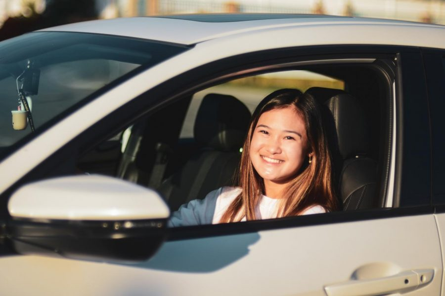 Smiling out the window of her 2020 Honda Civic, Kami Kwong (11) was happy to share her behind the wheel experience and helpful tips to make your behind the wheel test a success.
