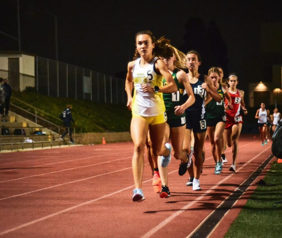 """Competing in South Bay Championships, Varsity Cross Country runner Megan Gonzalez (12) keeps the pace quick in the 3200m race at West on Saturday, May 15. Gonzalez has been a member of the cross country team for all four years and has consistently won in her events, breaking PR (personal record) after PR. She expressed how running """"has shown me that hard work really pays off, and through it I have made friendships that will last a lifetime. It's made my high school career immensely better and I couldn't imagine high school without it."""""""