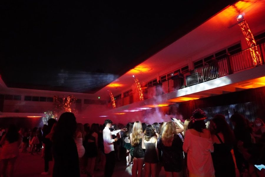 """On October 9, 2021, students gathered at West High School to enjoy the Homecoming dance, with the theme: A Night in Paris. Risa Fujimoto (12), who danced the night away, noted how """"fun it was to watch people getting hyped up with the music. Photo courtesy of Sophie Morales (10)."""
