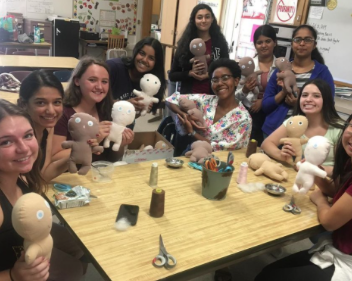 FCCLA members are stitching dolls for one of their community service projects: Dollies for Doctors in 2019. These dolls were used to show kids how they were going to be operated on to put them at ease. Photo courtesy of Pragna Chennuri (12).